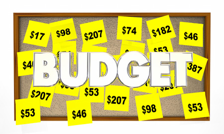 budgets: Budget Accounting Bookkeeping Sticky Notes 3d Illustration