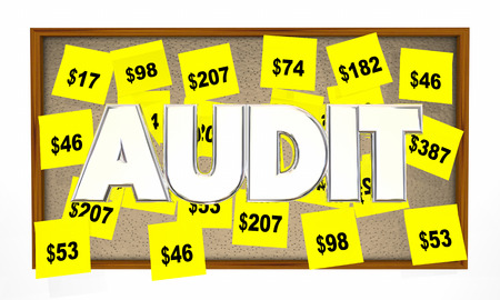 liabilities: Audit Tax Review Accounting Sticky Notes 3d Illustration Stock Photo