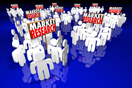 demographics: Market Research Study Survey Customers Demographics People Signs 3d Illustration Stock Photo