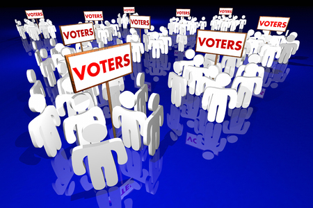 voters: Voters People Groups Voting Election Politics 3d Illustration