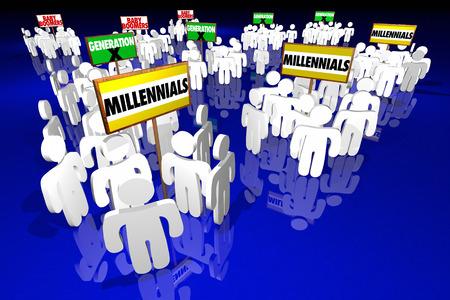 personas mayores: Millennials Generación X bebé Boomers señales de las personas 3d ilustración