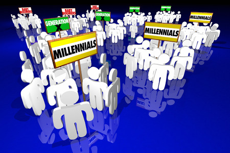 Millennials Generation X Baby Boomers People Signs 3d Illustration Reklamní fotografie - 64815931