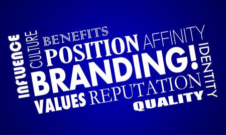 posicionamiento de marca: Branding Identidad de la reputación de confianza collage de la palabra ilustración 3d