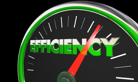Efficiency Gauge Level Great effectieve resultaten 3d Illustratie Stockfoto