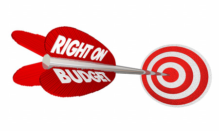 fiscal: Right on Budget Finances Money Planning Arrow Target 3d Illustration Stock Photo