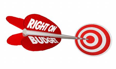 Right on Budget Finances Money Planning Arrow Target 3d Illustration Stock Photo