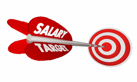 earnings: Salary Target Wage Income Earnings Arrow Raise 3d Illustration