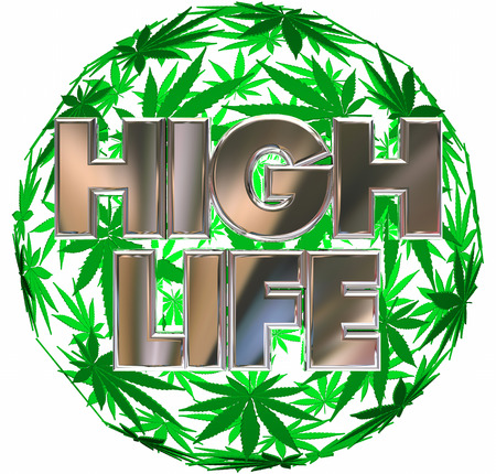 High Life Marijuana Pot Leaf Sphere 3d Illustration
