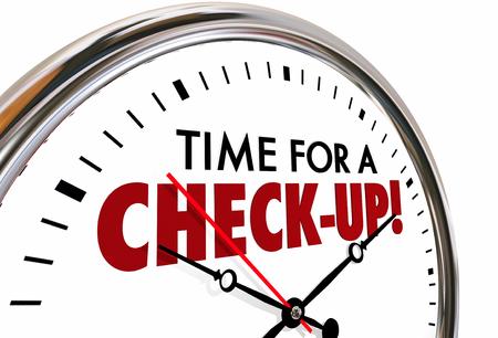 Tiempo para un chequeo Examen de Evaluación del reloj 3d ilustración