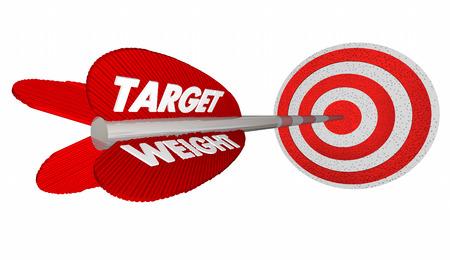 lose: Target Weight Lose Pounds Goal Arrow Bulls Eye 3d Illustration