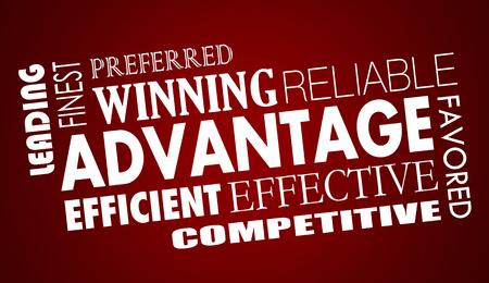 利点利点は競争力の言葉が 3 d イラストをコラージュ 写真素材