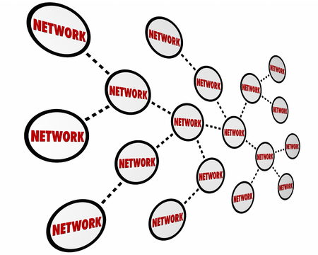 referrals: Network Circles Connected Links Word 3d Illustration