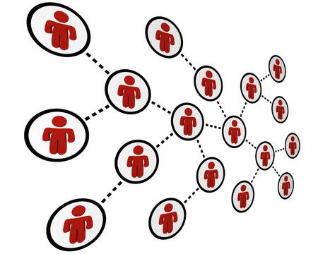 comunicar: La gente conectada a una red Sociales Amigos Linked Ilustración 3d