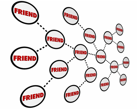 referrals: Friends Colleagues Peers Networking Links Word 3d Illustration