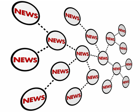 News Spreading Information Sharing Network 3d Illustration Фото со стока