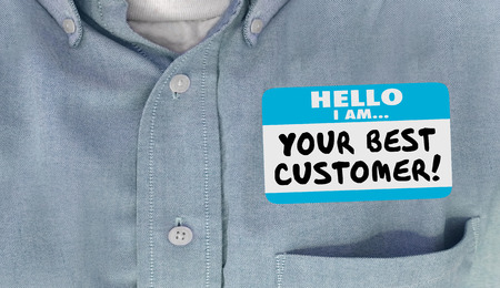 meet and greet: Your Best Customer Hello Name Tag Loyal Client 3d Illustration