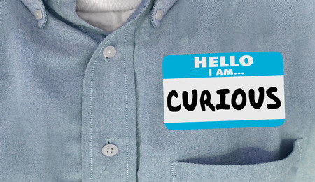 eagerness: Curious Hello I Am Questioning Interested Name Tag 3d Illustration