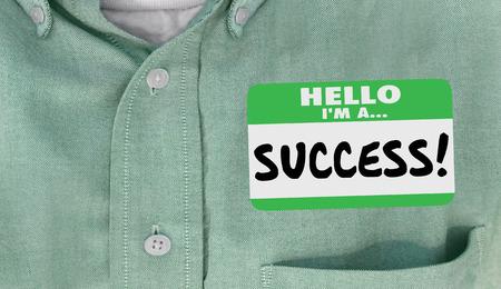 Hello Im a Success Name Tag Sticker Shirt 3d Illustration