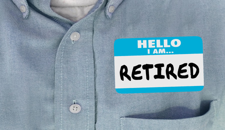 nametag: Hello I am Retired Not Working Quit Job Nametag 3d Illustration