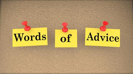 bulletin: Words of Advice Help Assistance Support Bulletin Board 3d Illustration