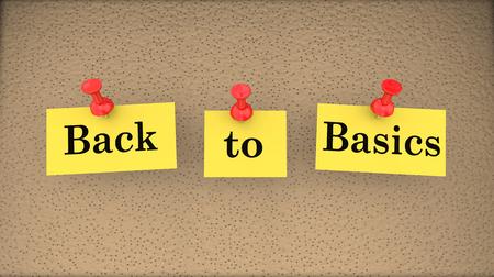 Back to Basics Saying Bulletin Board Main Principles 3d Illustration