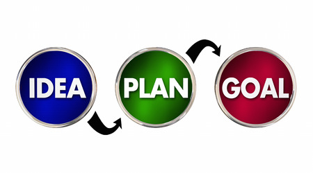 inventing: Idea Plan Goal Strategy Process Steps Circles Arrows 3d Illustration