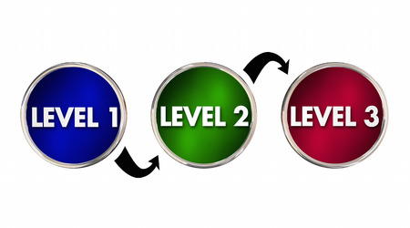 levels: Levels 1 2 3 One Two Three Rising Up Improving 3d Illustration