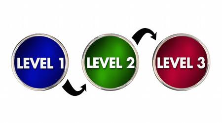 Livelli 1 2 3 Uno Due Tre aumento fino Migliorare Illustrazione 3D Archivio Fotografico
