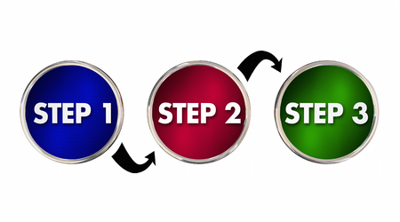 processes: Steps 1 2 3 One Two Three Instructions Circles 3d Illustration Stock Photo