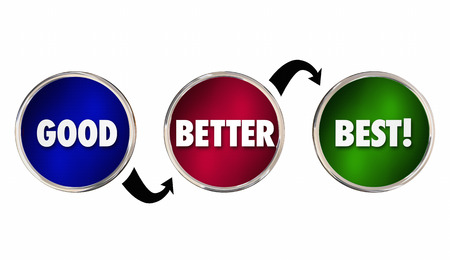 preference: Good Better Best Idea Plan Choices Circles Arrows 3d Illustration