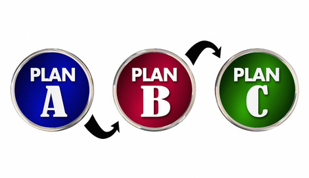 back up: Plan A B C Alternate Trial Back Up Ideas Strategy Circles 3d Illustration