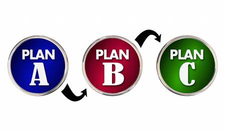 Plan A B C Alternate Trial Back Up Ideas Strategy Circles 3d Illustration