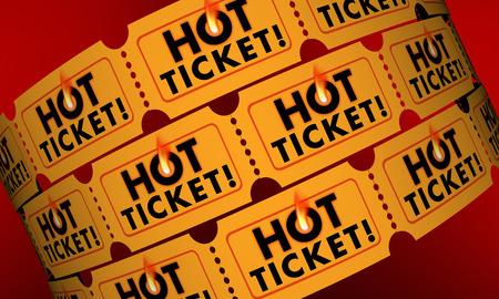 popularity popular: Hot Ticket Popular Event In Demand Admission Entry 3d Illustration