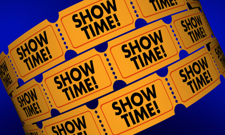 Showtime Movie Tickets Play Performance Admission 3d Illustration Stok Fotoğraf