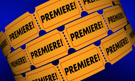 introducing: Premiere Tickets New Movie Product Launch Announcement 3d Illustration Stock Photo