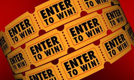contest: Enter to Win Tickets Contest Raffle Drawing Lottery Chance 3d Illustration Stock Photo