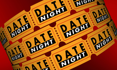 date night: Date Night Tickets Romantic Evening Out Movie 3d Illustration