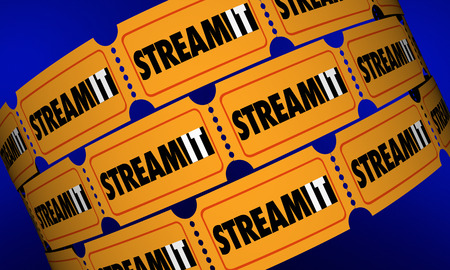 watcher: Stream It Download Content Movie Tickets Digital Film 3d Illustration Stock Photo