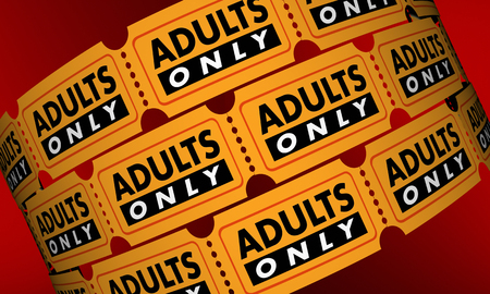 Adults Only Mature Content Movie Tickets 3d Illustration