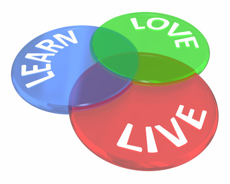 Live Learn Love Life Experience Venn Diagram Circles 3d Illustration Stock Photo