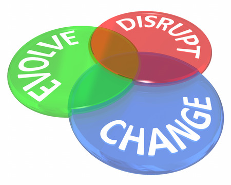 disrupting: Change Evolve Disrupt Innovate New Idea Venn Circles 3d Illustration
