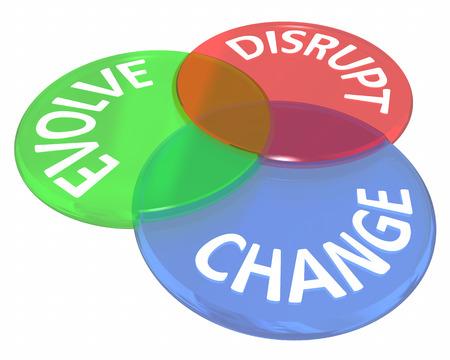Change Evolve verstoren Innovate New Idea Venn Circles 3d Illustratie Stockfoto