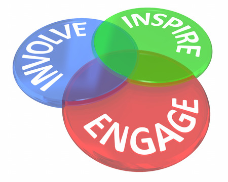 Engage Involve Inspire Join Group Communicate Venn Circles 3d Illustration