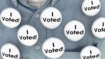 single word: I Voted Buttons Pins Shirt Election Voter Politics Democracy 3d Illustration
