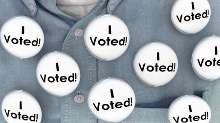 voter: I Voted Buttons Pins Shirt Election Voter Politics Democracy 3d Illustration