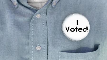 voter: I Voted Button Pin Shirt Election Voter Politics Democracy 3d Illustration