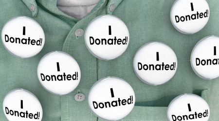 contributor: I Donated Gave Money Donation Contributor Buttons Pins 3d Illustration