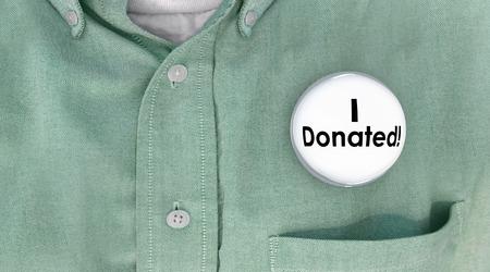 Ho donato donato soldi donazione pulsante contribuente pin 3d illustrazione Archivio Fotografico - 64929666