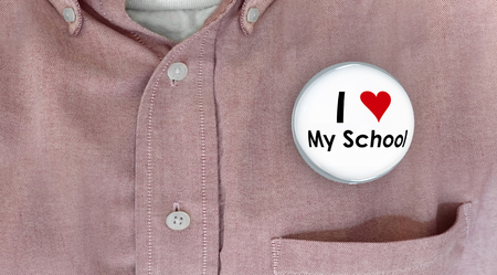 I Love My School Button Pin Shirt Education Teacher Student 3d Illustration Imagens
