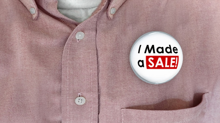 salesman: I Made a Sale Buttons Pins Selling Deal Salesman 3d Illustration Stock Photo